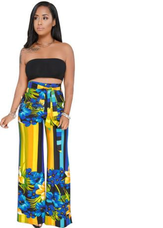 Two Piece Crop Top And Wide Leg Pants