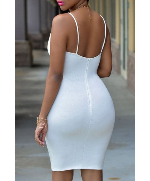 Cut Out White Bodycon Dress - Ashlays - 2