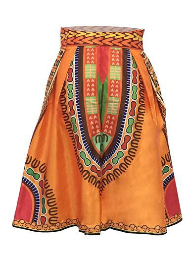 Dashiki Print High Waist Skater Skirt - Ashlays - 3