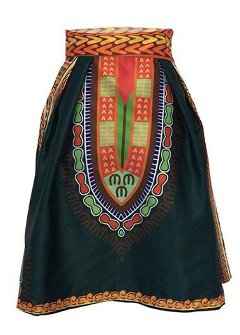 Dashiki Print High Waist Skater Skirt - Ashlays - 1