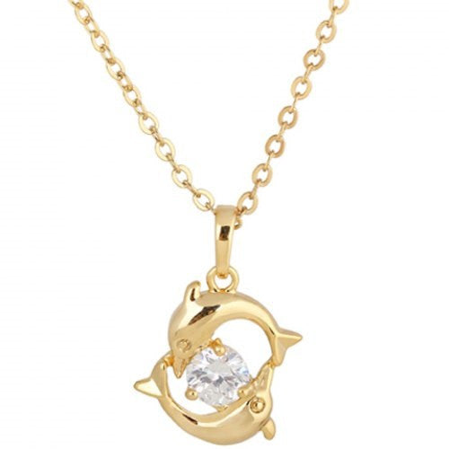 Rhinestone Hollow Dolphin Shape Necklace - Ashlays - 1