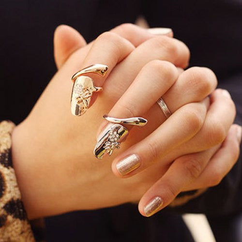 Rhinestone Embellished Dragonfly Pattern Fingertip Ring - Ashlays - 1