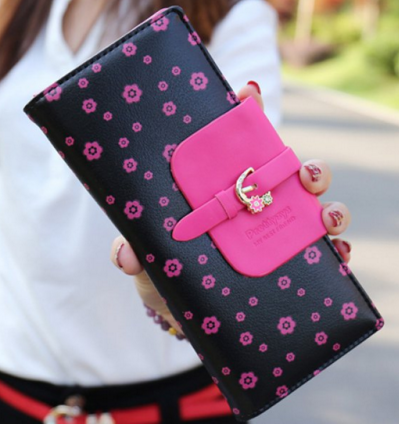 Floral Print and Buckle Design Wallet - Ashlays - 1