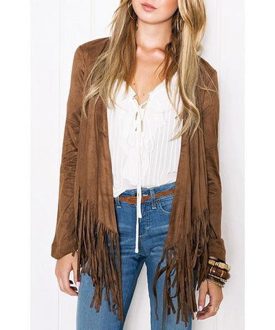 Stylish Collarless Long Sleeve Tassels Jacket - Ashlays - 1