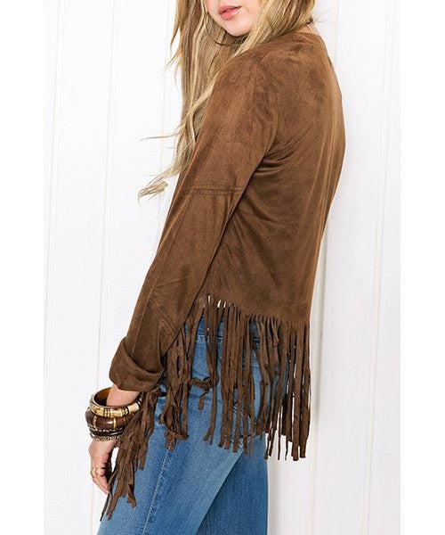 Stylish Collarless Long Sleeve Tassels Jacket - Ashlays - 2