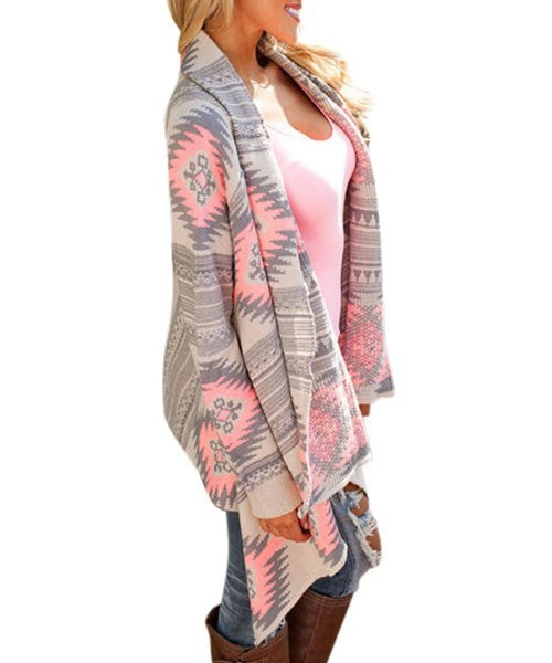 Casual Geometric Printed Long Sleeve Asymmetric Cardigan - Ashlays - 2