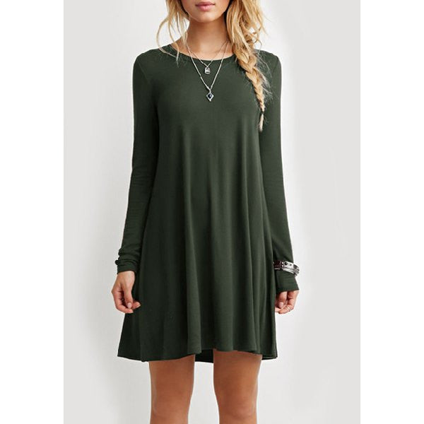 Casual Long Sleeve Green Dress - Ashlays