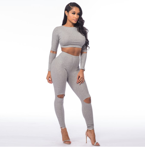 Sexy Bodycon Two Piece Jumpsuit