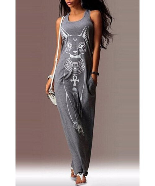 Sleeveless Animal Printed Maxi Dress For Women - Ashlays - 2