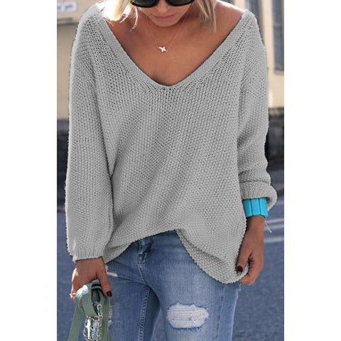 Long Sleeves Pure Color Loose-Fitting Women's Sweater - Ashlays - 1