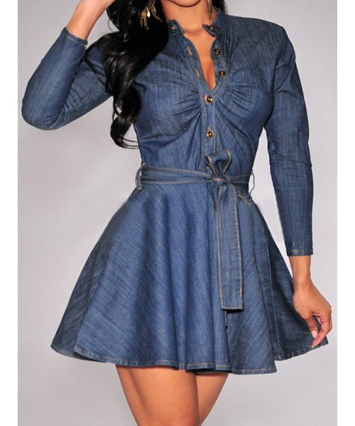 Long Sleeve Denim Women's Dress - Ashlays - 1