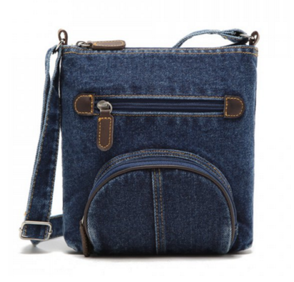 Denim and Zipper Design Crossbody Bag - Ashlays