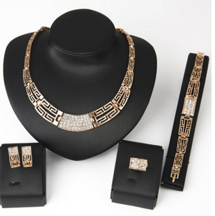 Women's Jewelry Set Necklace Bracelet Ring and A Pair of Earrings - Ashlays
