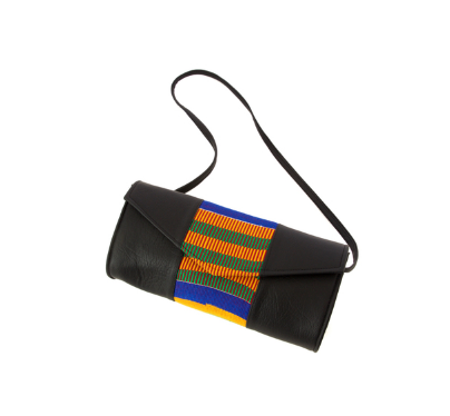 African Kente Cloth and Faux Leather Barrel Purse with Strap - Ashlays - 1