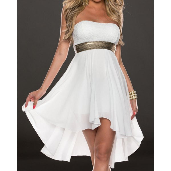 Strapless Lace Spliced Sleeveless Dress - Ashlays