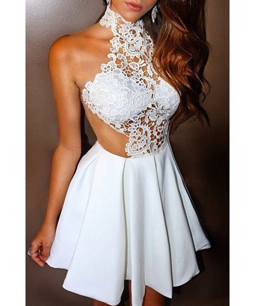 Sleeveless See-Through Cut Out White Dress - Ashlays - 2