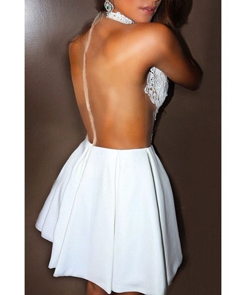 Sleeveless See-Through Cut Out White Dress - Ashlays - 3