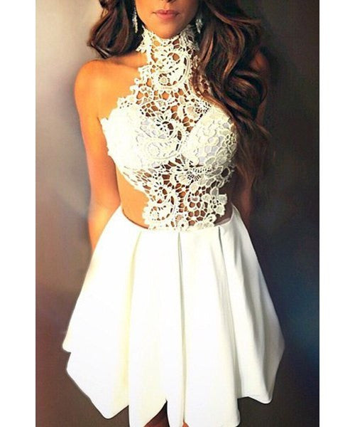 Sleeveless See-Through Cut Out White Dress - Ashlays - 1