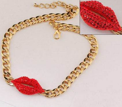 Red Lip Metal Necklace - Ashlays