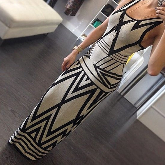 Sleeveless Printed Maxi Dress - Ashlays