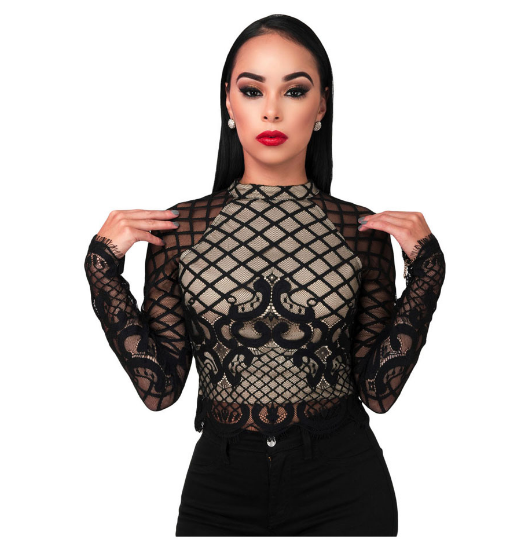 Black Long Sleeve Mesh Lace Crop Top - Ashlays - 3
