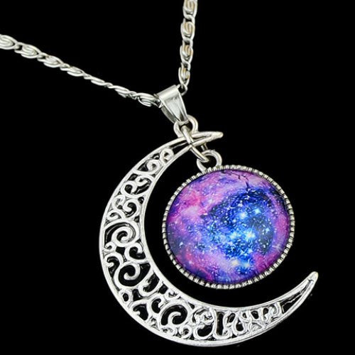 Gem Moon Round Pendant Necklace - Ashlays - 2