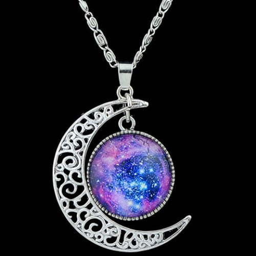 Gem Moon Round Pendant Necklace - Ashlays - 1