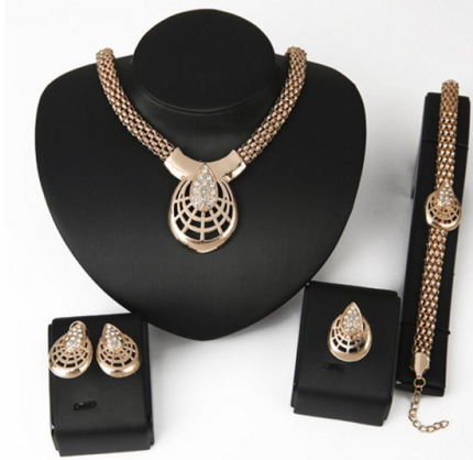 Women's Necklace Set Bracelet Ring and A Pair of Earrings - Ashlays