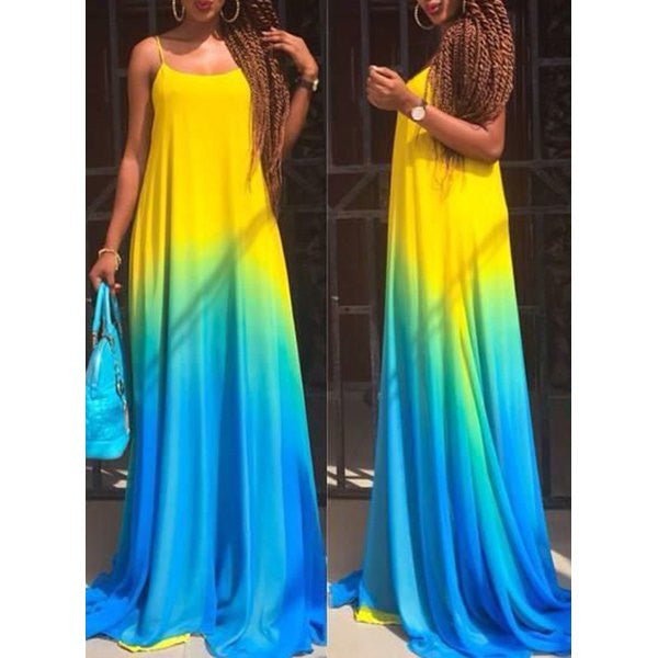 Spaghetti Strap Sleeveless Ombre Maxi Dress - Ashlays