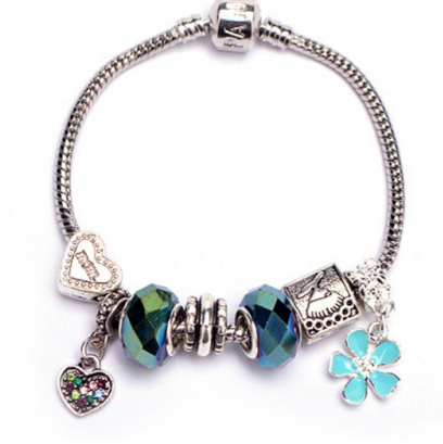 Rhinestone Heart Flower Bracelet - Ashlays