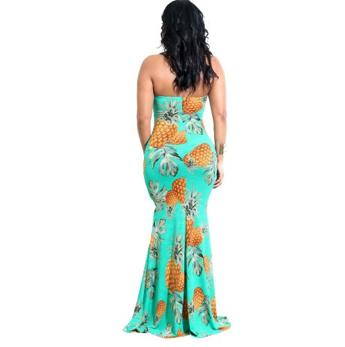 Pineapple Print Maxi Dress