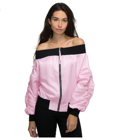 Pink Off Shoulder Bomber Pilot Jacket - Ashlays