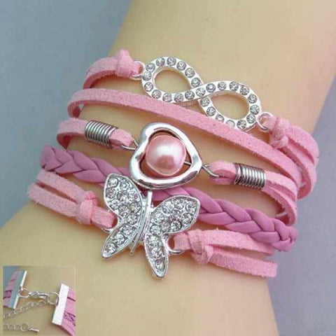 Rhinestone Decorated Butterfly Friendship Bracelet - Ashlays