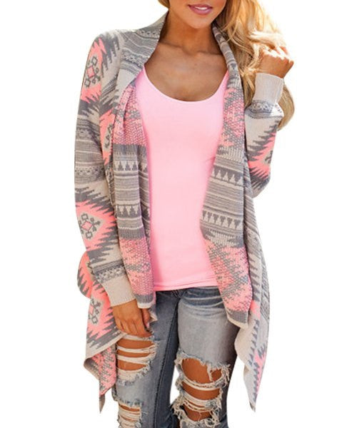 Casual Geometric Printed Long Sleeve Asymmetric Cardigan - Ashlays - 1