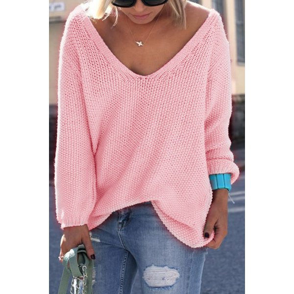 Long Sleeves Pure Color Loose-Fitting Women's Sweater - Ashlays - 2
