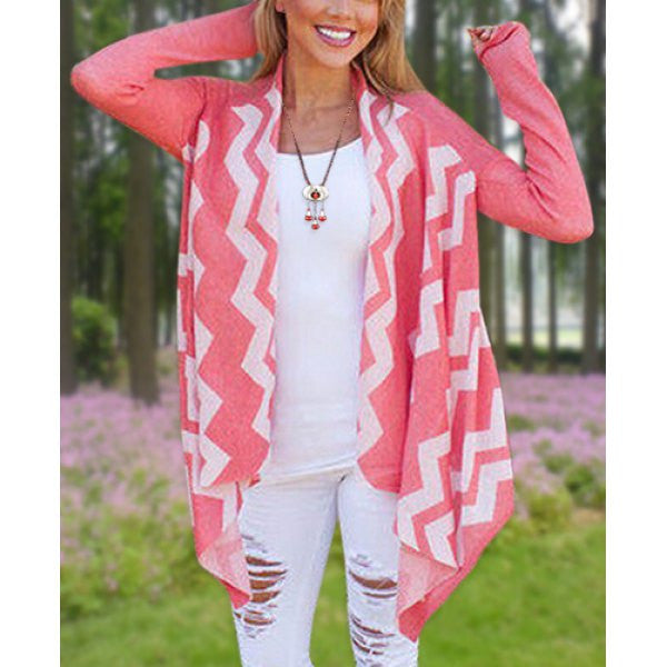 Long Sleeve Zigzag Thin Cardigan - Ashlays