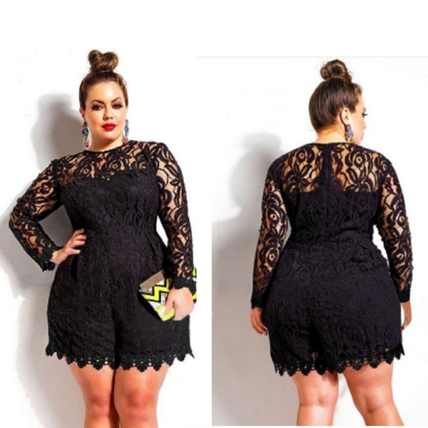 Long Sleeve Lace Romper - Ashlays - 2
