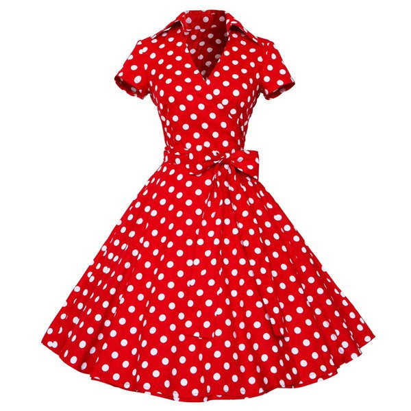 Vintage Polka Dot Print Ball Dress - Ashlays