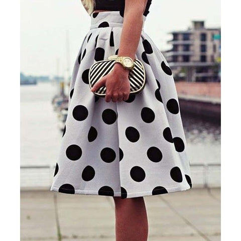 Vintage High-Waisted Polka Dot Ruffled Skirt - Ashlays