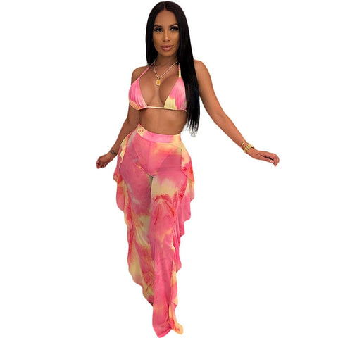 Tie Dye Bikini Top + Ruffles Mesh Sheer Pants