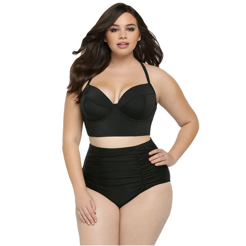 Black High Waist Plus Size Swimsuit - Ashlays
