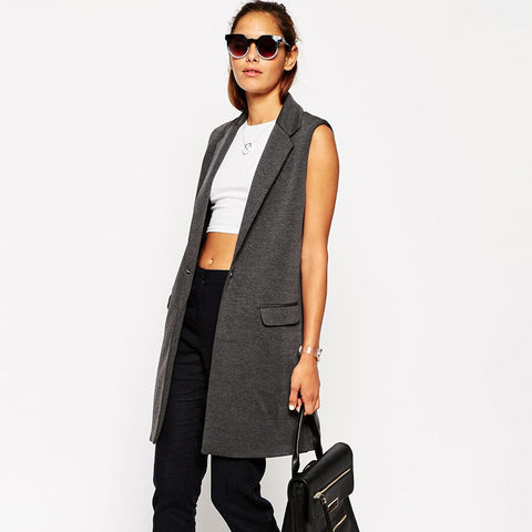 Sleeveless Long Gray One Button Jacket - Ashlays