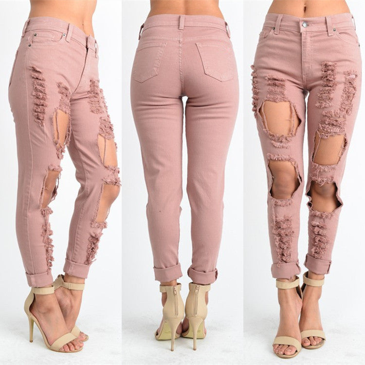Women's High Waist Ripped Jeans - Ashlays