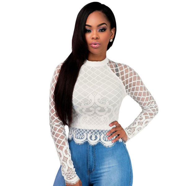 Black Long Sleeve Mesh Lace Crop Top - Ashlays - 2