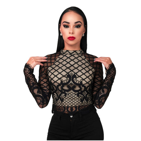 Black Long Sleeve Mesh Lace Crop Top - Ashlays - 1