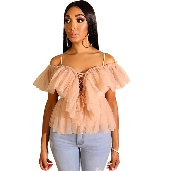 Lace up Ruffle Blouse
