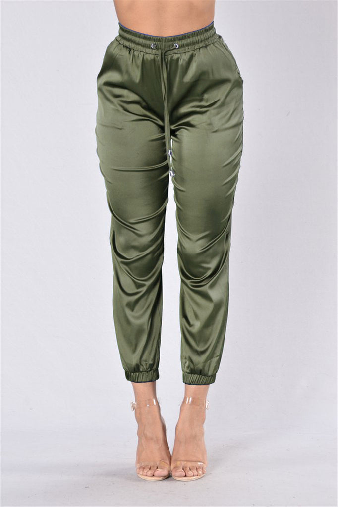 Casual Satin Drawstring Pants - Ashlays - 3
