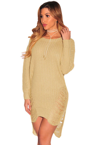 Ripped Knit Long Sleeves Sweater Dress - Ashlays - 1