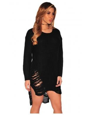Ripped Knit Long Sleeves Sweater Dress - Ashlays - 4