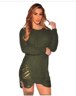 Ripped Knit Long Sleeves Sweater Dress - Ashlays - 3